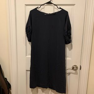COS 100% silk navy ruffle sleeve dress